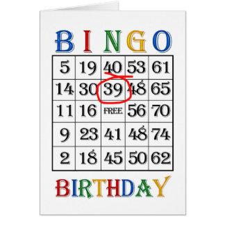 39th Birthday Bingo card