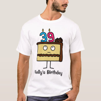 39th Birthday Cake with Candles T-Shirt