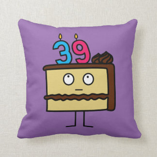 39th Birthday Cake with Candles Throw Pillow