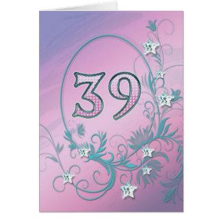 39th Birthday card with diamond stars