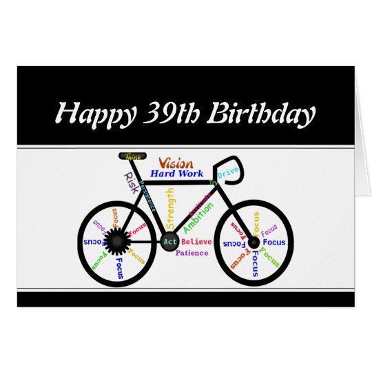 39th Birthday Motivational Bike Bicycle Cycling Card
