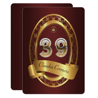 39th,birthday party woman man,elegant color card