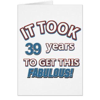 39th year birthday designs card