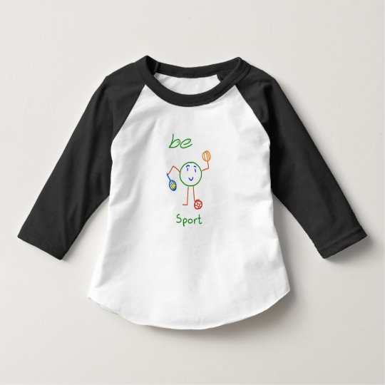 3/4 toddler Be Sport Black sleeve White shirt