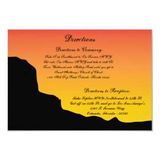 "3.5 x 5 Direction Card Desert Mountain Sunset Red 3.5"" X 5"" Invitation Card"