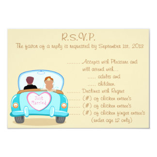3.5 x 5 R.S.V.P Reply Card Just got Married Couple