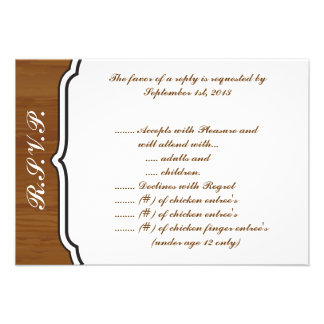 3 5 x 5 R S V P Reply Card Wooden Plank Floral Wed