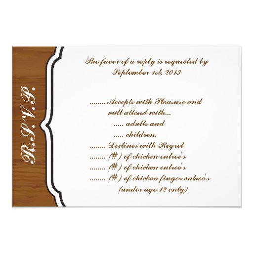 3.5 x 5 R.S.V.P Reply Card Wooden Plank Floral Wed