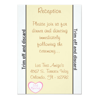 "3.5 x 7 Reception Just got Married Cou 5"" X 7"" Invitation Card"
