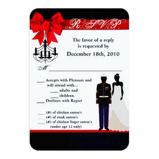 3.5x5 R.S.V.P. Card Marine Uniform Groom Bride