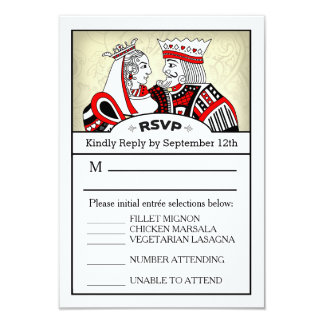 3.5x5 RSVP Menu Card - King & Queen Playing Card
