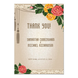 "3.5x5"" Vintage Damask Floral Wedding Thank You Car 3.5"" X 5"" Invitation Card"