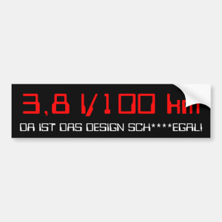 3.9 l/100 km bumper sticker