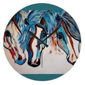 3 AMIGO   HORSES WALL CLOCKS