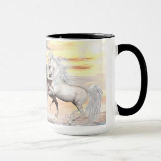 3 Arabian Horses 15 oz Ringer Mug