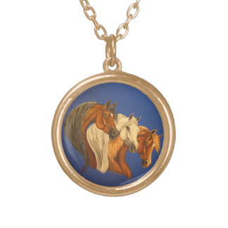 3 Arabian horses Gold Plated Necklace