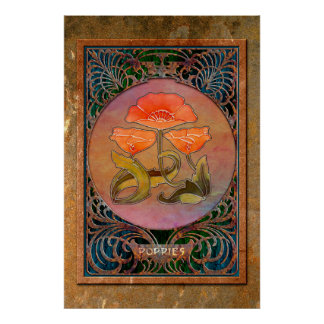 3 Art Nouveau Poppies in a Coppery Mucha Frame Poster
