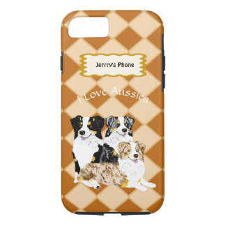 3 Australian Shepherd Dogs on Argyle add name Case-Mate iPhone Case