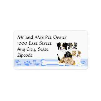 3 Australian Shepherds on Blue Gingham Label