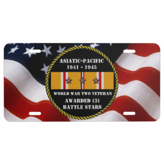 3 BATTLE STARS WWII Asiatic Pacific Veteran License Plate