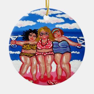 3 Best Friend Martini Beach Divas Round Ornament