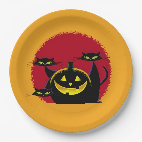 3 Black Cats Halloween Party Paper Plates 9 Inch Paper Plate