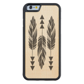 3 Black Feathers Maple Wood iPhone 6 Case