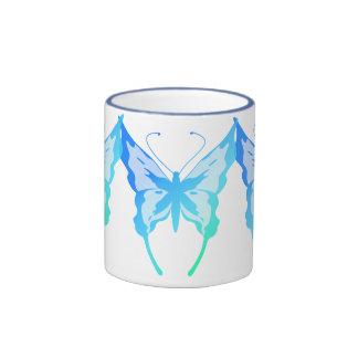 3 Blue Butterflies Ringer Mug