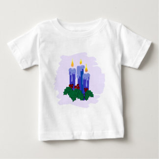 3 blue candles with holly baby T-Shirt
