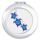3 Blue Honu Turtles Compact Mirror
