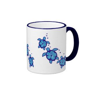 3 Blue Honu Turtles Ringer Mug