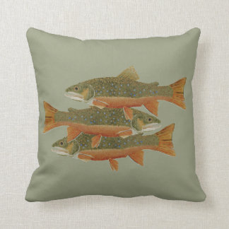 3 Brook Trout- Both Sides Throw Pillow
