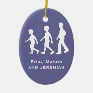 3 Brothers: Paper Cut-Out Style Boys Ceramic Oval Ornament