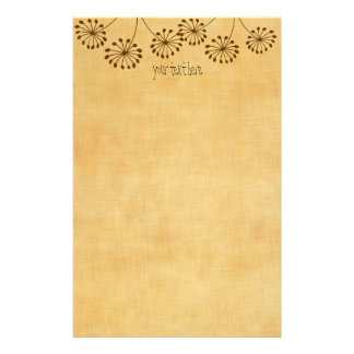 3 Brown Flowers Customized Stationery