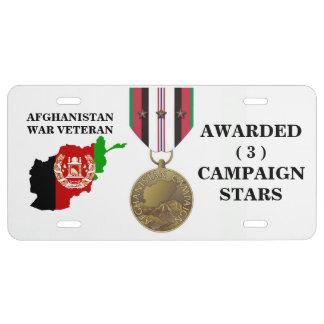 3 CAMPAIGN STARS AFGHANISTAN WAR VETERAN LICENSE PLATE