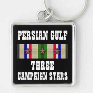 3 CAMPAIGN STARS / PERSIAN GULF WAR VETERAN Silver-Colored SQUARE KEYCHAIN