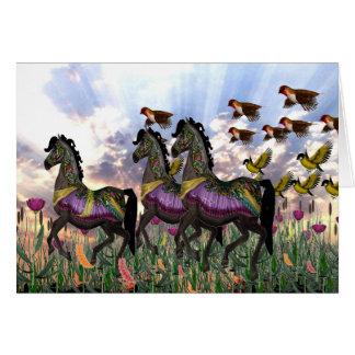 3 Carousel Horses Greeting Card