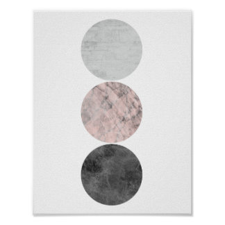 3 circles pink poster