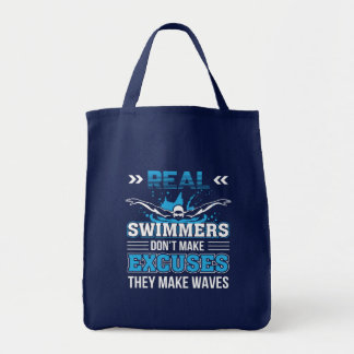 3 CL290717  Swimmer - Real Swimmer Dont Make Excus Tote Bag