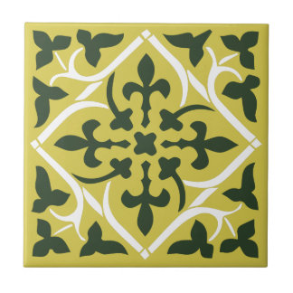 3 Color medieval style Ornament Ceramic Tile