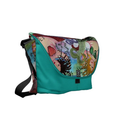 3 Colorful Mermaids Folk Art Messenger Bag