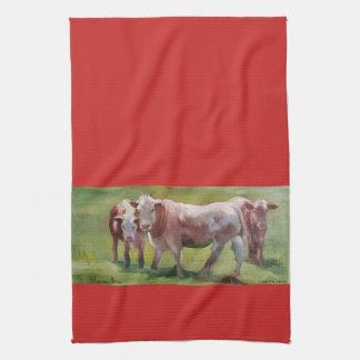 3 Cows in a Landscape Kitchen Towel