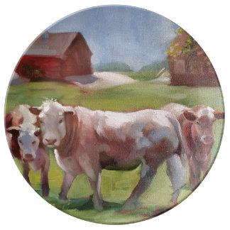 3 Cows in a Landscape Porcelain Plate