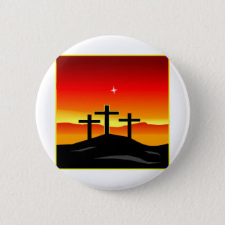 3 Crosses Sunset 2 Inch Round Button