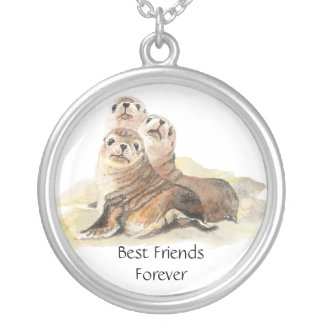 3 Cute Seals, Best Friends Forever, BFF, Silver Plated Necklace