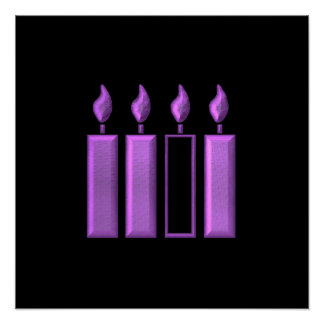 """""""3-D"""" Advent Wreath Candles Poster"""