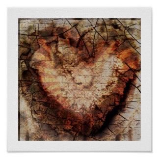 3-D Burnt Heart in Sand Poster