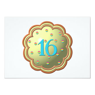"""3-D"" Cupcake w/sprinkles and the # 16 Custom Invitations"