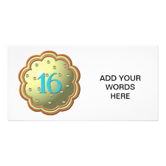 """3-D"" Cupcake w/sprinkles and the # 16 Custom Photo Card"