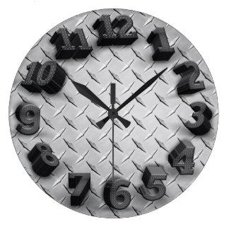 3-D Diamond Plate Round Wall Clock